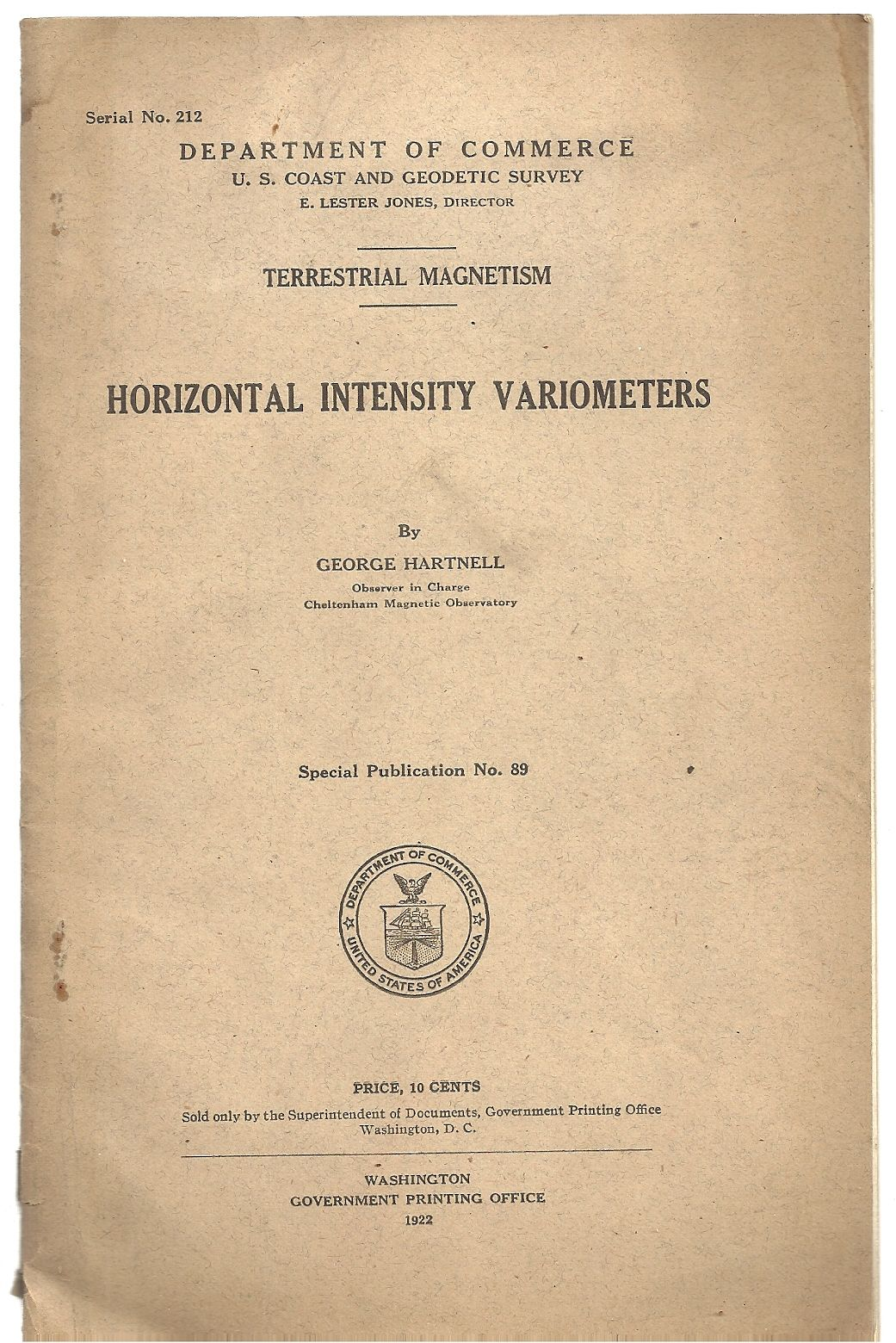 Horizontal Intensity Variometers, George Hartnell