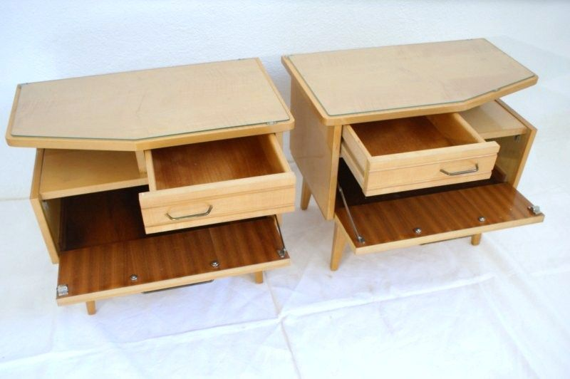 fantastisches 50er nachttisch p rchen set kommoden 60er schub t r holz glas ebay. Black Bedroom Furniture Sets. Home Design Ideas