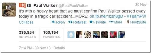 El tuit en la cuenta de Paul Walker donde se confirma su muerte